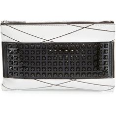 L.A.M.B. Jana Studded Leather Clutch Bag ($89) ❤ liked on Polyvore featuring bags, handbags, clutches, white, real leather purses, leather handbags, studded clutches, l a m b handbags and zipper purse