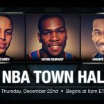 first-ever NBA Town Hall Video Chat via Watchitoo. NBA + Watchitoo + Town Hall = TRIPLE THREAT. The chat is tonight at 8p ET and will be moderated by David Aldridge on Facebook and on NBA.com.