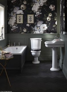 Heritage Bathroom Victoria Collection Single Basin works well with this floral wallpaper that adds on-trend French opulence Dark Bathrooms, Small Bathroom, Bathroom Sets, White Bathroom, Wall Paper Bathroom, Master Bathroom, Colorful Bathroom, Bamboo Bathroom, Bathroom Plants