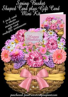 Beautiful basket full of spring flowers waiting to bring cheer to any special person in your life.     Kit is 4 pages, and will make an 8 inch completed card.   Kit includes, card front, card back, gift card, instructions, decoupage elements and multiple sentiments.     Sentiments include, Happy Birthday, Happy Anniversary, Special Friend, Get Well Soon, Thinking of You, Especially for you, Thank You.      Thank You for looking at my design, please click on my name to see my other cards.