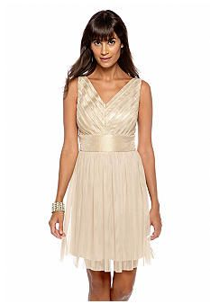 London Times Sleeveless Shimmer Fit and Flare Dress - $64 Belk