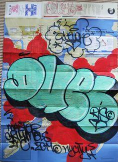 Duel / MTA Graffiti subway Map / Original spray paint and marker on real new york subway Map