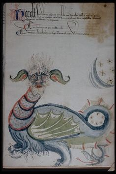 """Dragon ; pied-de-mouche ; initiale ornée dans """"Prophéties des papes"""". Bibliothèque Municipale de Lyon"""