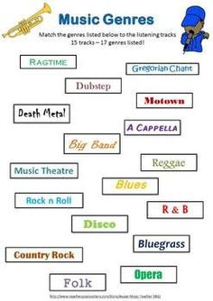 Music Genres: Music Listening Worksheets with QR Code Music Middle School Genres Listening Activities for your music class – with QR Codes! Music Lessons For Kids, Music Lesson Plans, Musik Genre, Middle School Music, Music Worksheets, Music Education, Physical Education, Bilingual Education, Health Education