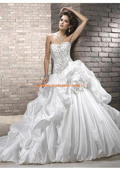 2013 Neue schöne Brautkleider aus Taft Ballkleid mit Reifrock mit schleppe