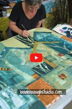 A Back-and-Forth Dance – Between Painting and Quilting — Bobbi Baugh Studio Textile Fiber Art, Textile Artists, Fiber Art Quilts, Fabric Painting, Fabric Art, Quilt Tutorials, Art Tutorials, Landscape Art Quilts, Mixed Media Artwork