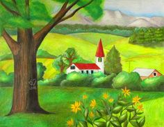 How to draw a simple landscape using colored pencils.  Very detailed instructions!
