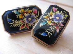 1950's enamel earrings. hand painted floral clip-ons.. $13.00, via Etsy.