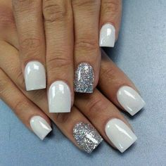 White and silver acrylic nails!