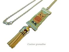 Collier tissé perles de miyuki et pompon : Collier par couleur-grenadine33