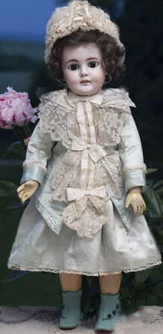 "24"" (62 cm) Breathtaking Early Bahr & Proschild 224 Antique German Bisque Head Doll C.1885 in Fabulous antique costume!"