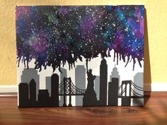 New York City nebula melted crayon art- doable for the London skyline too perhaps?