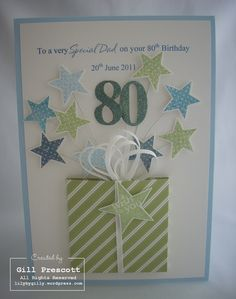 My lovely friend and neighbour asked me to make an 80th birthday card for her dad… She wanted different blues and greens so I used certainly celery, bashful blue, night of navy and marina mis…