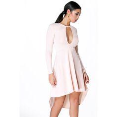 Boohoo Night Lorna Long Sleeve Keyhole Dip Hem Skater Dress ($30) ❤ liked on Polyvore featuring dresses, nude, white sequin dress, long sleeve skater dress, maxi dress, long sleeve bodycon dress e sequin party dresses