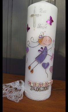 Taufkerzen - Taufkerze Schutzengel Mädchen Lila - ein Designerstück von Monchelinis-Kerzenmanufaktur bei DaWanda