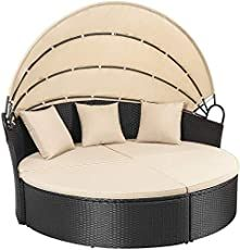 Patio Furniture Outdoor Daybed with Retractable Canopy Wicker Furniture Sectional Seating with Washable Cushions for Patio Backyard Porch Pool Round Daybed Separated Seating (Beige) Rattan Daybed, Patio Daybed, Outdoor Daybed, Outdoor Wicker Furniture, Patio Furniture Sets, Patio Chairs, Indoor Outdoor, Furniture Design, Daybeds