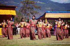 14-Women dancers at Tsechue Festival in Wangdue, Bhutan