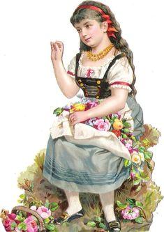 Oblaten Glanzbild scrap die cut chromo Kind child enfant  13,2cm Tracht national