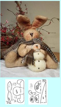 Bunny pattern and snowman Felt Patterns, Fabric Patterns, Sewing Patterns, Spring Template, Crafts To Make And Sell, Stuffed Animal Patterns, Bunny Rabbit, Easter Bunny, Christmas Crafts