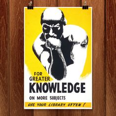 Shop Vintage Library Poster Thinker Statue Librarian Postcard created by theLoudestLibrarian. Wpa Posters, Library Posters, Poster Prints, Poster Poster, Rodin The Thinker, Design Your Own Poster, Vintage Library, Personalized Wall Art, Custom Posters