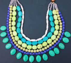 Turquoise Necklace Bib  Neon Strand Stone Wood Beads by Blitzrider, $74.99