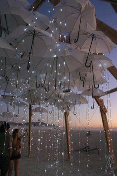 Umbrella Rain Lights installation for the Burning Man festival, Black Rock City, Nevada