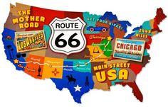 Blechschild Route 66 Map-D0553
