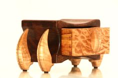 """The body of """"Firefly"""" was made from crotch walnut that is put together using blind dovetails. The back panel is quilted maple and there are quartersaw… Small Wood Box, Small Boxes, Woodworking Projects Diy, Diy Projects, Trunks And Chests, Hidden Storage, Little Boxes, Wood Boxes, Keepsake Boxes"""