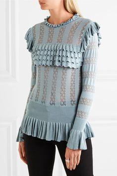 Temperley London | Cypre Pullover aus Pointelle-Strick mit Rüschen | NET-A-PORTER.COM