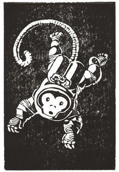 Monkeynaut - Linocut (Woodcut ish) Print Space Astronaut Monkey Zero Grav Print 43 of 50