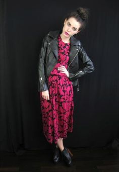 Vintage Black And Pink Floral Dress