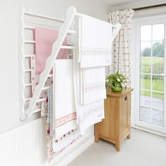 $190 Wall Fixed Pine Laundry Drying Rack