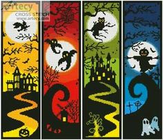 Halloween Banners cross stitch pattern.