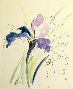 Watercolour paintings – Iris flower painting ORIGINAL watercolor artwork – a unique product by Radikacolours on DaWanda