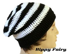 Mens black and white slouchy beanie mens slouchy hat by HippyFairy 50e249ecfbaa