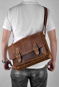 Men's Vintage Retro Handmade 15.6 Laptop Bag by camerasbagstraps