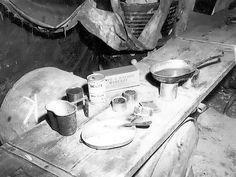 A typical meal for the US Marines in the field, photo taken at Peleliu, Palau Islands, Oct 1944; note canned pork loaf, crackers, lemonade, and dried peaches