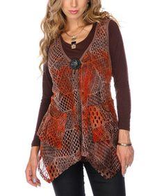 Loving this Rust Crocheted Sleeveless Tunic on #zulily! #zulilyfinds