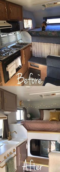 Easy RV Camper Remodel Ideas With Before And After Comparison 14 – Kawaii Inte. Easy RV Camper Remodel Ideas With Before And After Comparison 14 – Kawaii Interior Rv Travel Trailers, Travel Trailer Remodel, Camper Trailers, Trailer Diy, Airstream Remodel, Tiny Camper, Popup Camper, Rv Campers, Camper Van