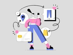 Shopping Gal by Makers Company on Dribbble People Illustration, Line Illustration, Character Illustration, Graphic Design Illustration, Amazing Drawings, Colorful Drawings, Ios Design, Dashboard Design, Flat Design