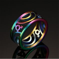 Rainbow Pride Color Hollow Wide Stainless Steel Wedding Band Promise Rings