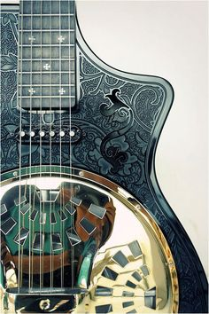 Full custom black gold glossy and matte combine act-electric resonator guitar