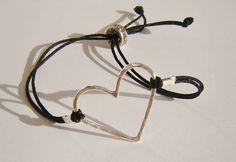 Sterling Silver Charm Heart Bracelet on adjustable by dzinebug, €18.00