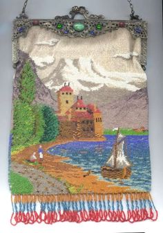 Scenic Figural Beaded Purse with Castle, Sailboat, People on the Beach, Lake and Mountains with Jeweled Filigreed Frame