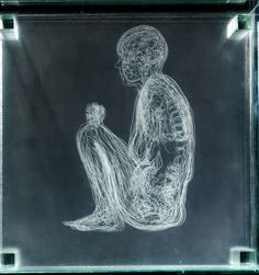 Angela Palmer- Self Portrait, Crouching (2012) - Engraving on 16 sheets of glass, based on MRI scans