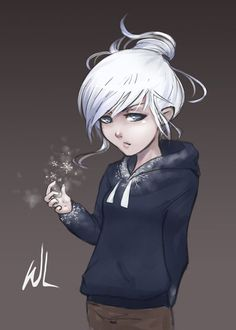 Female Jack Frost. Another genderbender. Maybe it's his little sister Pippa this time. I know some people call her Emma (I did too), but Emma Frost is like some X-Men thing or something, so at last I have decided to switch to Pippa. Like anyone cares.