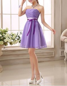 2017 New Strapless Mini Bridesmaid/ Wedding Party Dresses with Sashes