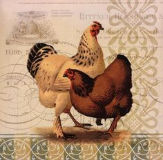Art Print: Chickens & Scrolls I by Miles Graf Collection : Chicken Crafts, Chicken Art, Chicken Cross Stitch, Chicken Images, Rooster Art, Chickens And Roosters, Animal Sketches, Animal Illustrations, Vintage Farm