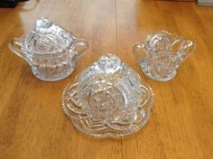 Antique Cut Glass Crystal Set, Star Pattern, 5 Pieces