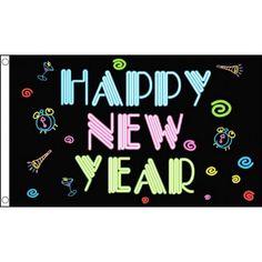 Gelukkig Nieuwjaar vlag  Happy New Year neon vlag. Zwarte vlag met in neon letters Happy New Year. Deze Oud en Nieuw vlag is gemaakt van 100% polyester en ongeveer 150 x 90 cm groot.  EUR 8.50  Meer informatie